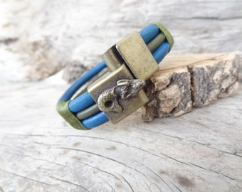 EXPRESS SHIPPING, Mermaid Bracelet, Men's Blue&Green Leather Bracelet, Antique Magnetic Clasp Bracelet, Gift for Him, Father's Day Gifts
