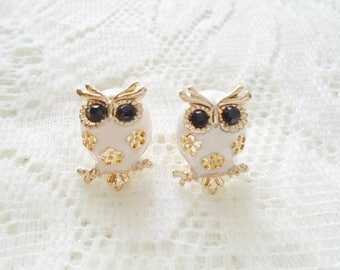 Gold plated Owl stud earring, Available in three colors