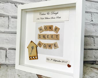 New Home Gift, New Home Frame, Personalised New Home Gift, Housewarming Gift, Scrabble Art, House Gift, Housewarming Gift,New Home Box Frame