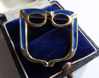 Signed Exquisite Brooch, Enameled Glasses Brooch, Specs Holder, 1960s