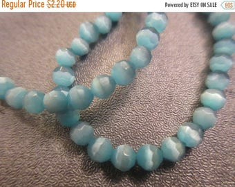 ON SALE 15% OFF Blue Cat's Eye Faceted Round 4mm Beads 108pcs