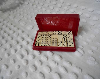 Vintage Mini Domino Set - Car Games - Traveling Domino Set - Vintage Games - Retro Traveling Domino Set  - Ready to Ship