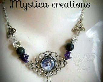 Necklace elven magical amethyst and Obsidian