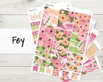 A La Carte | Fey Weekly Kit | Planner Stickers Sized for EC Vertical