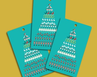 Illustrated 12 Days of Christmas Gift Tags / Gift Tag Pack