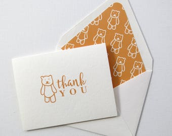 Children's Thank You Cards - Orange Bear Thank You Card - Orange Bear Stationery