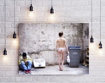 Nude art, unusual photography, woman panties in an underground courtyard in Paris