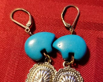 Blue Bear Concho Earrings