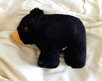 vintage stuffed black bear stuffed plush toy bear black bear collectible bear