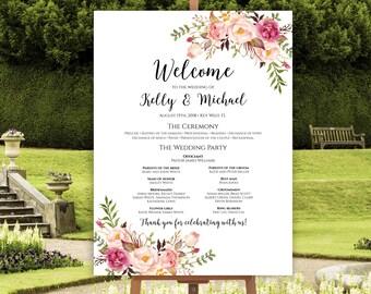 Wedding Program Poster, Large Wedding Program, Wedding Poster, Ceremony Program, Wedding Program Template, Instant Download, Editable, C1