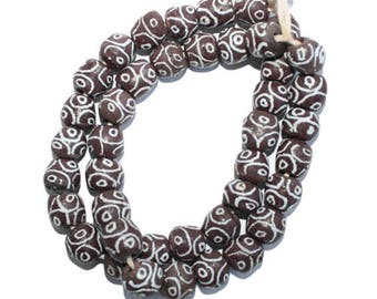 Brown African Beads, Ghana Recycled Glass, from Ghana's Krobo,  Round 13 mm,  Pack of 20