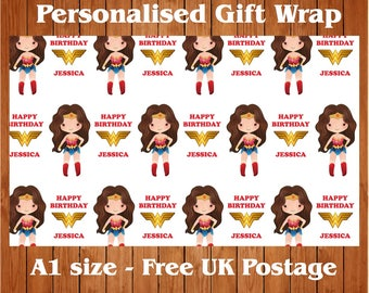 Personalised Wonder Woman inspired Birthday Wrapping Paper & 2 tags