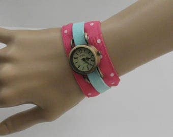 Women watch, pink polka dot watch, exclusive design watch,one-of-a-kind watch, handmade textile bracelet with watch by JuSal08