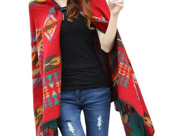 American Indian Navajo design Hooded shawl poncho