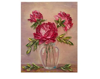 Pink Roses in a Glass Vase 8 X 10 in Original oil impasto painting No.04-60 ready to hang