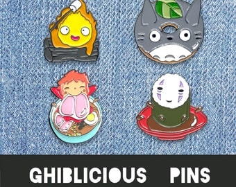 Ghibli Pin Set - Enamel Studio Ghibli Howls Moving Castle cosplay calcifer gift jewelry gift pins totoro anime sprited away fan art no face