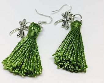 Green Tassel Dragonfly Earrings