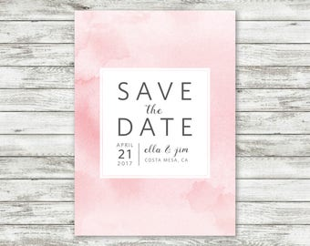 Pink Ombre Watercolor - Save the Date Invitation - Customizable