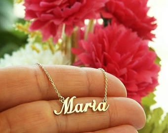 14k Solid Gold-Name Necklace-Personalized Necklace-14k Gold Necklace-Custom Name Necklace-Name Jewelry-14k-Personalized Name Plate Jewelry