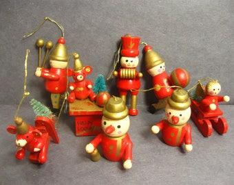 Vintage Wood Christmas Tree Ornaments, Miniature Christmas Decor, 8 pieces