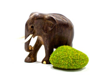 VINTAGE: Small Hand Carved Black Wood Elephant - African Elephant - Bone Inlay Elephant - SKU 15-A1-00011031