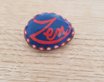 GRATITUDE stone, natural stone message: ZEN blue, red and white detailing Made with Love gift idea
