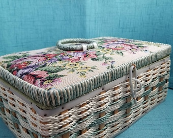 Vintage Wicker and Tapestry Sewing Box made in Korea 1960s