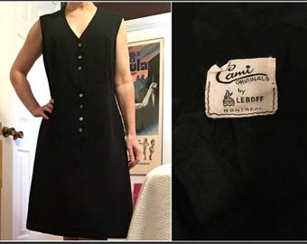 Vintage 1960s Cami Originals by Leboff Black Midi Shift Dress with Gold Buttons Size 8