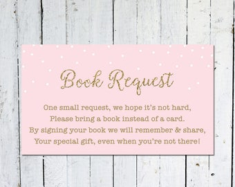 Book Request Insert, Baby Shower, Pink And Gold, Bring A Book Instead Of A Card, Confetti, Printable, Instant Download, Books For Baby