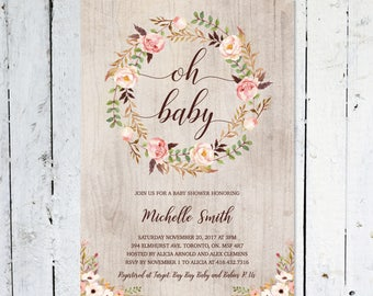 Baby Shower Invitation Girl, Oh Baby, Boho Baby Shower Invitation,  Rustic, Floral, Fall,  Printable, Printed
