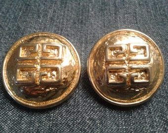 Gorgeous Designer 80s Gold Tone Givenchy Clip-on Earrings