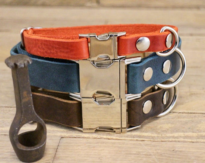 Dog collar, Clip collar, FREE ID TAG, Leather clasp collar, Handmade dog collar, Gift, Buckle collar, Medium size collar, Cayenne collar.