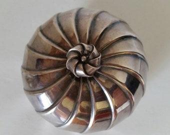 Italian Artisan Silver Metal Covered Bowl
