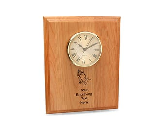 Praying Hands Personalized Wall Clock - Alder Wood Wall Clock - Christian Customizable Wall Clock - Rectangular Wooden Wall Clock