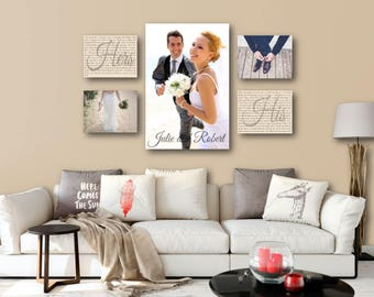 Photo Wall Display Canvas One 20x30 AND Four 11x14 Wedding Vow