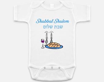 Shabbat Shalom Baby Onesie
