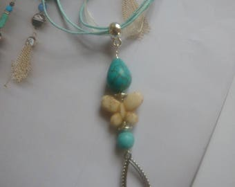 Turquoise Howlite Butterfly bezel pendant necklace