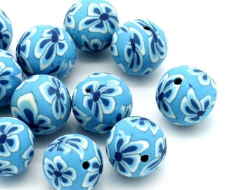 12 mm Polymer Clay Blue and White Flower Design Beads (2061)