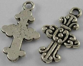 10 Antique Silver Fancy Cross Charm Pendants 24 x 14.5mm (B209d)