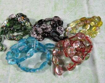 Handmade Silver Foil Millefiori Glass Bead Strand Ovals  (B11c)