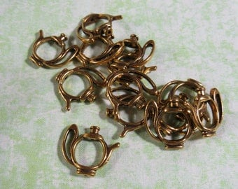 25 Ant Gold Heart Bead Frames 13mm (B318q)