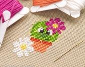 Chloe the Cute Cactus Cross Stitch Pattern PDF | Prickly but Cute Stitch-a-Long | Easy | Modern | Beginners Counted Cross Stitch Pattern