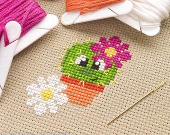 Chloe the Cute Cactus Cross Stitch Pattern PDF   Prickly but Cute Stitch-a-Long   Easy   Modern   Beginners Counted Cross Stitch Pattern
