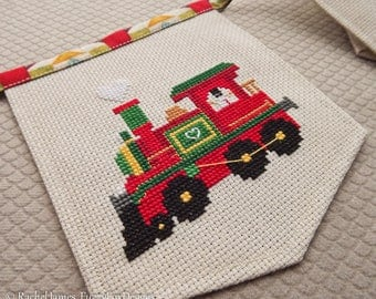 Christmas Train Bunting Cross Stitch Pattern PDF | Easy | Modern | Beginners Counted Cross Stitch | Instant Download