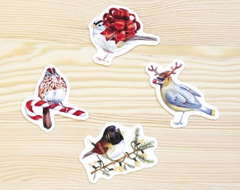 Christmas Songbirds Vinyl Sticker 4-Pack