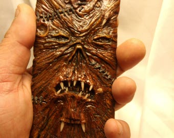 Necronomicon Flexible and  hard case, hand sculpted, OOAK (one of a kind)phone case, iphone