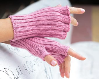 Pink gloves women gloves half finger glove valentine gift sweet 16 gift girls gloves wool gloves knit gloves fingerless glove winter gloves