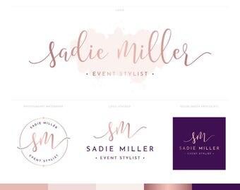 Logo Design | Photography Logo & Watermark | Rose Gold Logo | Logo Branding Package | Watercolour Logo | Blog Header | Brand Kit SADMIL