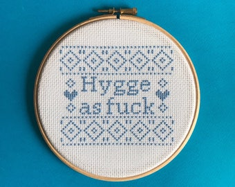 Modern cross stitch kit hygge fuck easy cross stitch beginner geometric cross stitch kit offensive gift funny humorous scandi blue xstitch
