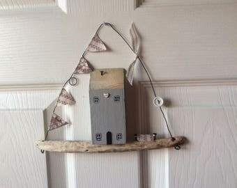 Minature driftwood house door hanger